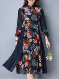 ByChicStyle Casual Band Collar Patchwork Floral Printed Maxi Dress