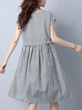 ByChicStyle Round Neck Striped Cotton/Linen Skater Dress - Bychicstyle.com