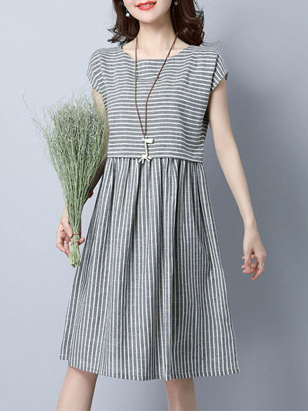 Round Neck Striped Cotton/Linen Skater Dress - Bychicstyle.com