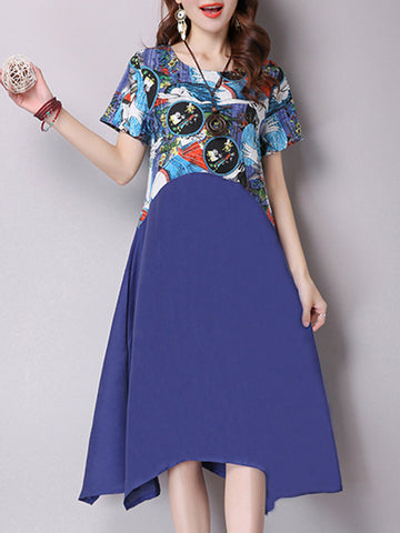 Casual Asymmetric Hem Round Neck Printed Skater Dress