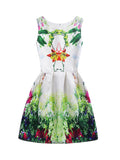 Streetstyle  Casual Attractive Round Neck Tropical Printed Skater Dress