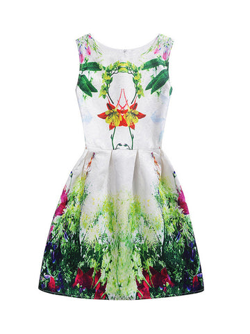 Casual Attractive Round Neck Tropical Printed Skater Dress