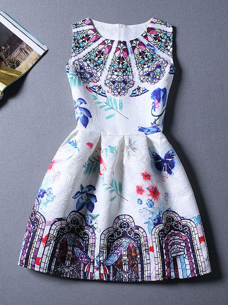 Round Neck Printed Romantic Sleeveless Skater Dress - Bychicstyle.com