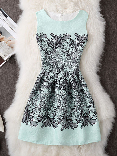 Round Neck Feminine Printed Skater Dress - Bychicstyle.com