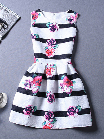 Round Neck Floral Printed Striped Skater Dress - Bychicstyle.com