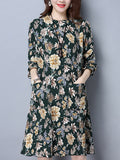 ByChicStyle Floral Printed Crew Neck Patch Pocket Pleated Shift Dress - Bychicstyle.com
