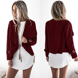 ByChicStyle Red Studded Turndown Collar Fashion Polyester Coat