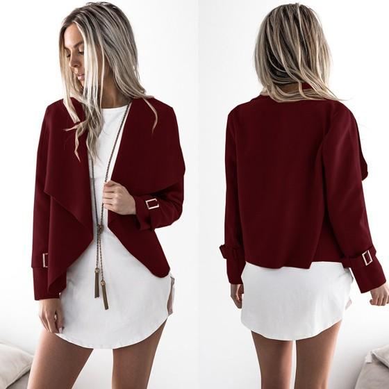 Red Studded Turndown Collar Fashion Polyester Coat