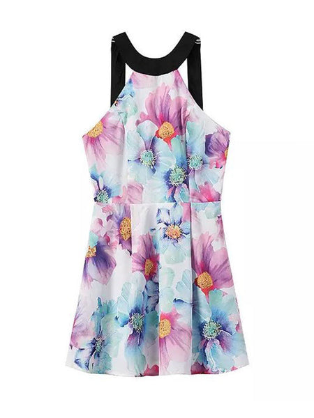 Crew Neck Back Hole Floral Printed Skater Dress - Bychicstyle.com