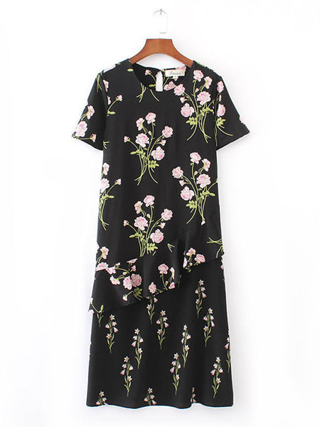 Round Neck Vintage Floral Printed Shift Dress - Bychicstyle.com