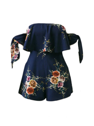 Off Shoulder Flounce Floral Printed Romper With Tie Sleeve - Bychicstyle.com
