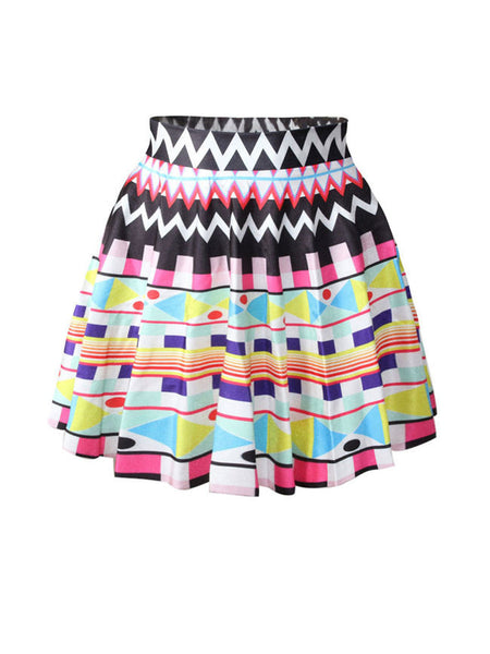 Casual Elastic Waist Geometric Zigzag Striped Flared Mini Skirt
