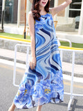 ByChicStyle Casual Asymmetric Hem Floral Printed Chiffon Maxi Dress