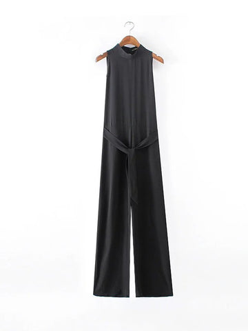 Modern Band Collar Solid Jumpsuit In Black - Bychicstyle.com