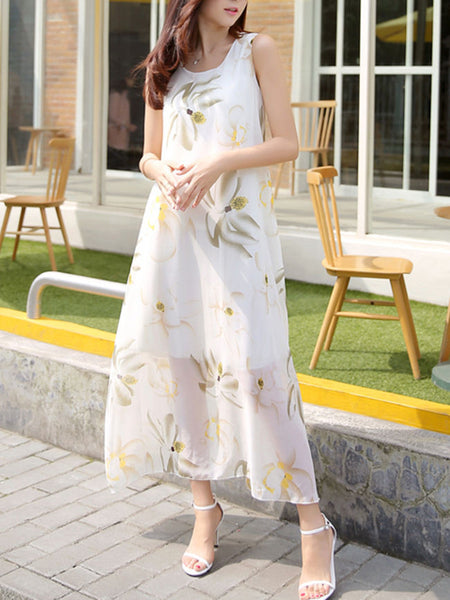 Round Neck Floral Printed Sleeveless Chiffon Maxi Dress - Bychicstyle.com