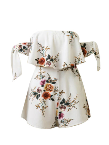 Tie Sleeve Off Shoulder Flounce Floral Printed Romper - Bychicstyle.com