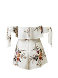 ByChicStyle Tie Sleeve Off Shoulder Flounce Floral Printed Romper - Bychicstyle.com