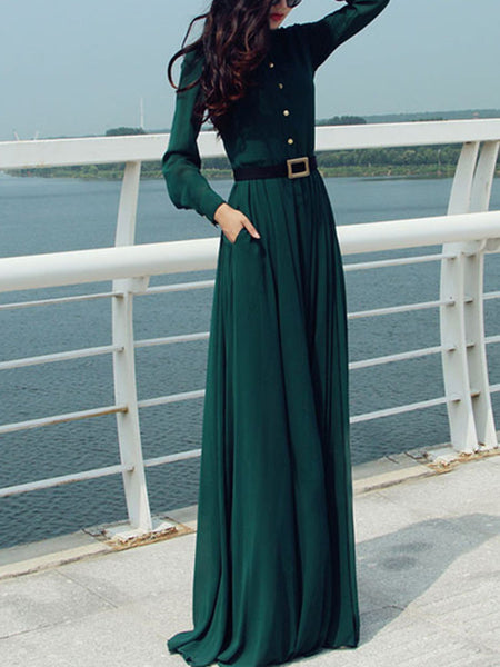 Casual Band Collar Pocket Plain Maxi Dress With Long Sleeve