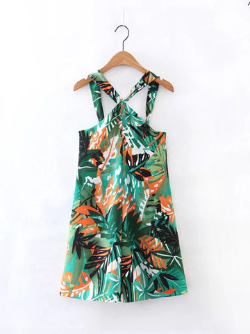 Casual Tropical V-Neck Printed Romper