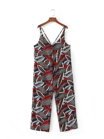 Spaghetti Strap Designed Leaf Printed Straight Jumpsuit - Bychicstyle.com