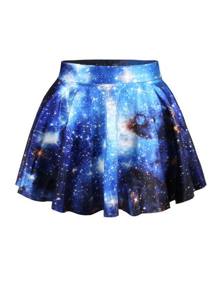 Casual Elastic Waist Galaxy Printed Flared Mini Skirt