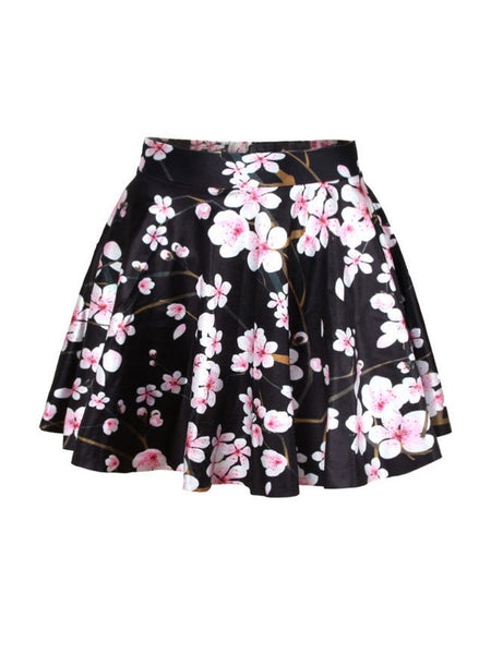 Casual Vintage Elastic Waist Floral Printed Flared Mini Skirt