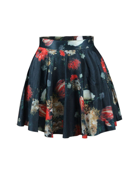 Casual Elastic Waist Printed Delicate Flared Mini Skirt