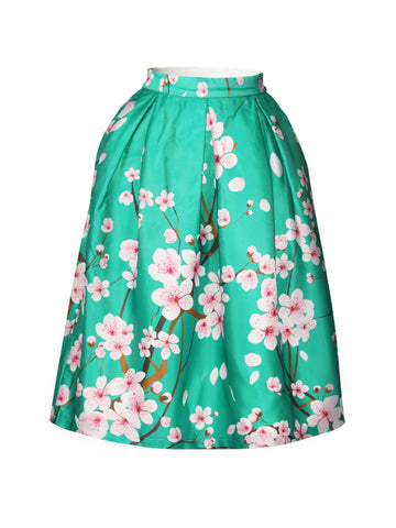 Casual Attractive Floral Printed Flared Midi Skirt