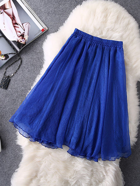 Casual Basic Elastic Waist Plain Flared Midi Skirt