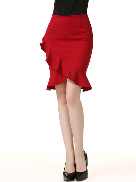 Casual Attractive Flounce Hem Plain Midi Skirt