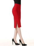 ByChicStyle Side Slit Solid Pencil Midi Skirt In Red - Bychicstyle.com