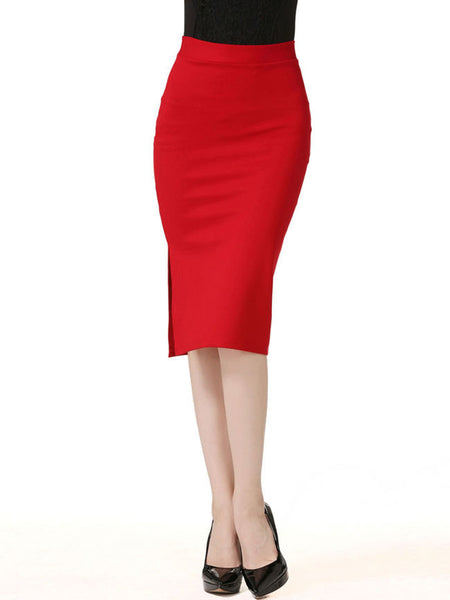 Side Slit Solid Pencil Midi Skirt In Red - Bychicstyle.com