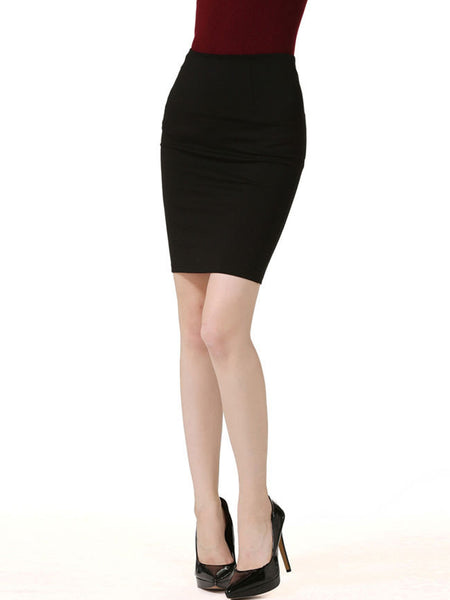 Casual Basic Slit Solid Pencil Midi Skirt