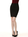 ByChicStyle Casual Basic Slit Solid Pencil Midi Skirt