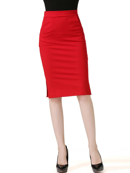 Charming Side Slit Solid Pocket Pencil Midi Skirt - Bychicstyle.com