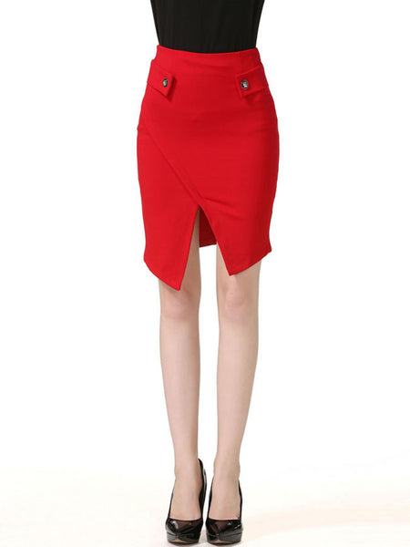 Slit Decorative Button Plain Midi Skirt - Bychicstyle.com