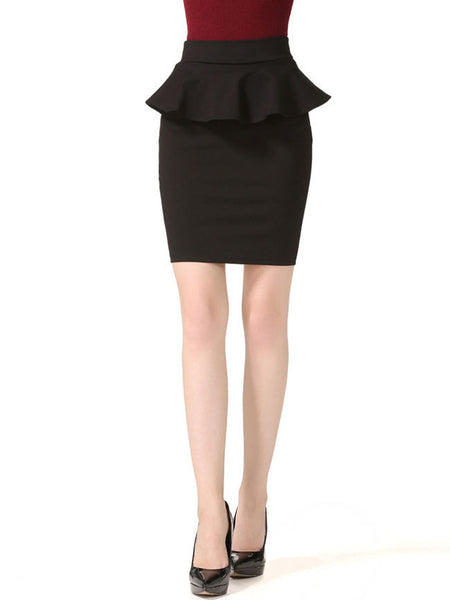Peplum Solid Midi Skirt In Black - Bychicstyle.com