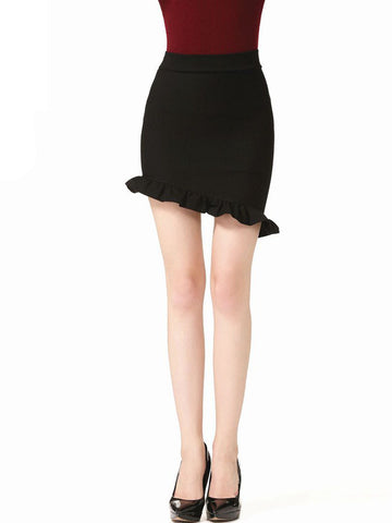 Casual Asymmetric Hem Ruffled Hem Plain Mini Skirt