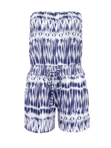 Strapless Drawstring Pocket Printed Romper - Bychicstyle.com