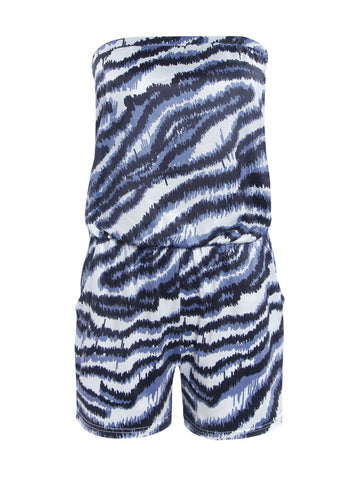 Strapless Pocket Animal Printed Romper - Bychicstyle.com