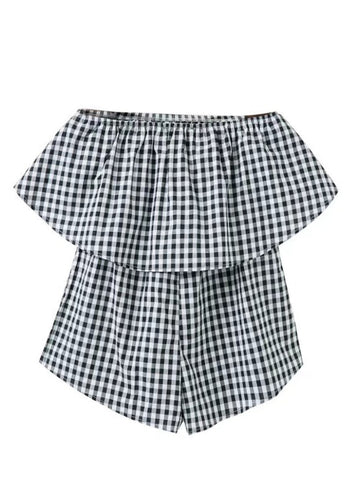 Strapless Flounce Black White Plaid Romper - Bychicstyle.com