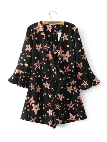 Casual V-Neck Printed Star Romper With Bell Sleeve