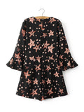 ByChicStyle Casual V-Neck Printed Star Romper With Bell Sleeve