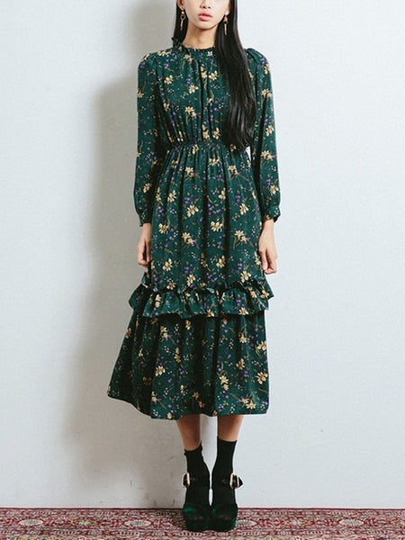 Streetstyle  Casual Band Collar Ruffle Trim Tiny Floral Printed Chiffon Maxi Dress