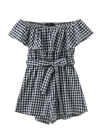 Off Shoulder Flounce Plaid Romper - Bychicstyle.com