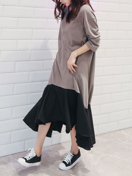 Color Block Asymmetric Hem Round Neck Maxi Dress - Bychicstyle.com