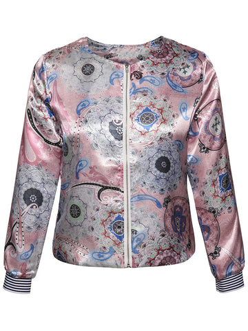 Collarless Zips Paisley Printed Jacket - Bychicstyle.com