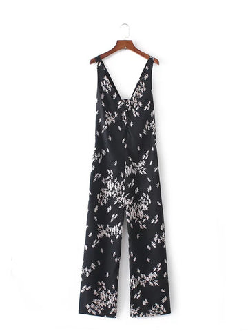 Deep V-Neck Bowknot Back Hole Printed Straight Romper - Bychicstyle.com