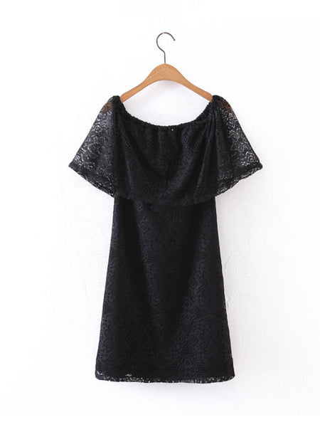 Off Shoulder Flounce Solid Lace Shift Dress - Bychicstyle.com