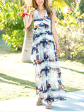 ByChicStyle Halter Backless Printed Chiffon Flowing Maxi Dress - Bychicstyle.com